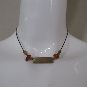Wooden leather choker